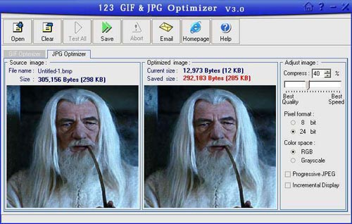 123 GIF/JPG Optimizer Screenshot